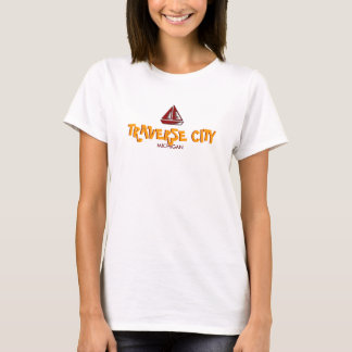 TRAVERSE CITY,  MICHIGAN Ladies Baby Doll (Fitted) T-Shirt