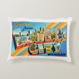 Traverse City Michigan MI Vintage Travel Souvenir Decorative Pillow