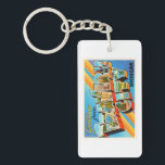 """Traverse City Michigan MI Vintage Travel Souvenir Keychain<br><div class=""""desc"""">Traverse City,  Michigan MI  A nostalgic,  vintage travel souvenir postcard image,  an authentic retro design. Greetings from the American Travelogue Virtual Touring Company!</div>"""