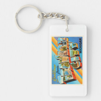 Traverse City Michigan MI Vintage Travel Souvenir Keychain