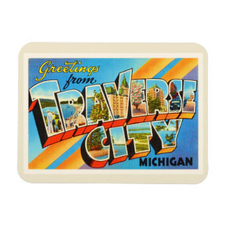 Traverse City Michigan MI Vintage Travel Souvenir Magnet