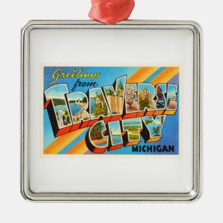 Traverse City Michigan MI Vintage Travel Souvenir Metal Ornament