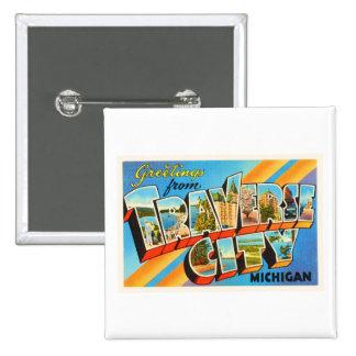 Traverse City Michigan MI Vintage Travel Souvenir Pinback Button