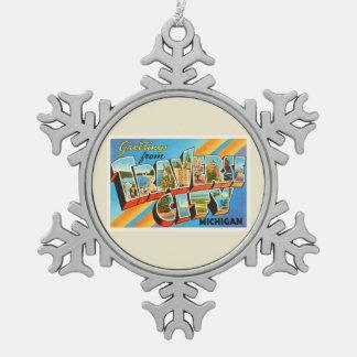 Traverse City Michigan MI Vintage Travel Souvenir Snowflake Pewter Christmas Ornament