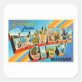 Traverse City Michigan MI Vintage Travel Souvenir Square Sticker