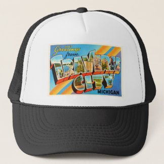 Traverse City Michigan MI Vintage Travel Souvenir Trucker Hat