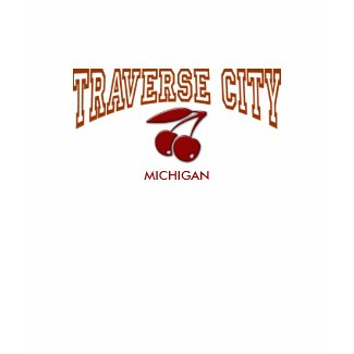 Traverse City , Michigan - With Cherries - red shirt