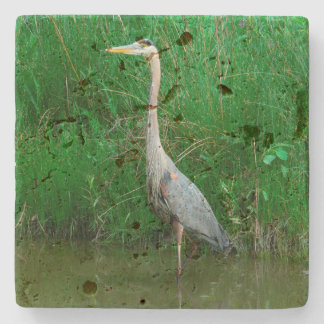 "TRAVERTINE COASTER, ""BLUE HERON STANDING IN POND"" STONE COASTER"