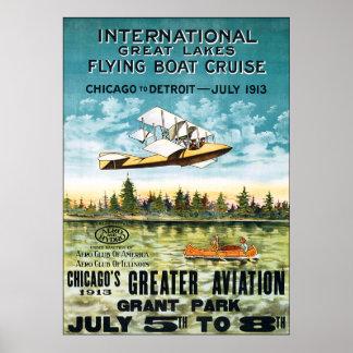 Travesía 1913 del barco de vuelo del vintage póster