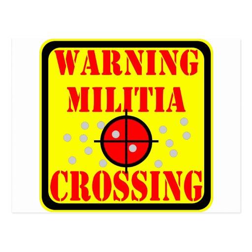 Travesía amonestadora de la milicia con alcance de tarjetas postales