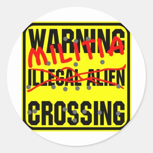 Travesía amonestadora del inmigrante ilegal (milic etiqueta