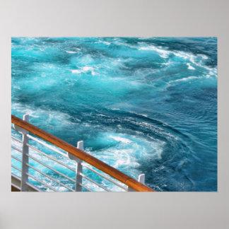 Travesía de Bahamas - estela de la turquesa Póster