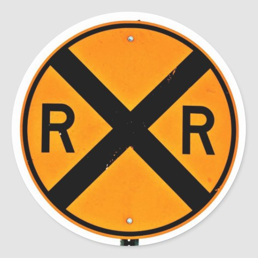 Travesía de ferrocarril etiquetas redondas