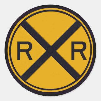 Travesía de ferrocarril pegatina redonda