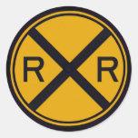 Travesía de ferrocarril pegatinas redondas