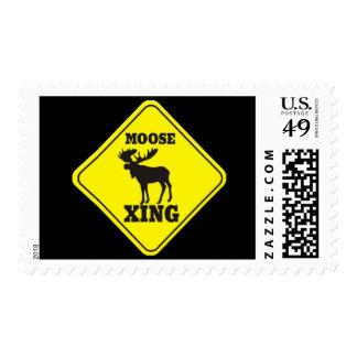 Travesía de los alces de la precaución sellos postales