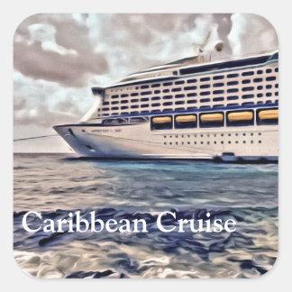 Travesía del Caribe - pegatinas cuadrados, Pegatina Cuadrada