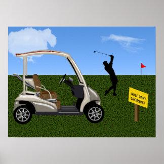 Travesía del carro de golf en espacio abierto póster
