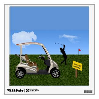 Travesía del carro de golf en espacio abierto vinilo