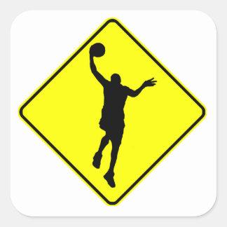 Travesía del Layup del baloncesto Pegatinas Cuadradases