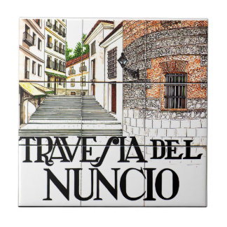 Travesia del Nuncio, Madrid Street Sign Tile