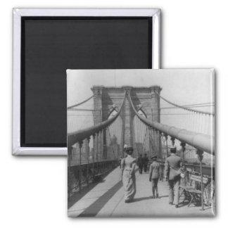 Travesía del puente de Brooklyn Imán Cuadrado