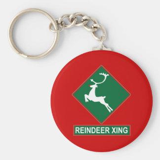 Travesía del reno (colores de Navidad) Llavero Redondo Tipo Pin
