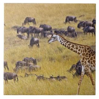 Travesía del río de Mara por las jirafas y Azulejo Cuadrado Grande