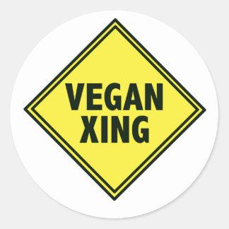 Travesía del vegano pegatina redonda