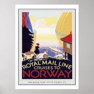 Travesía del viaje del vintage a Noruega Póster