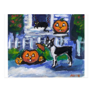 Travesura de Halloween Boston Terrier Tarjetas Postales