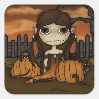 Travesura del otoño pegatina cuadrada