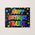 "[ Thumbnail: ""Travis"" First Name, Fun ""Happy Birthday"" Jigsaw Puzzle ]"