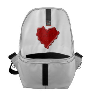 Travis. Red heart wax seal with name Travis Courier Bag