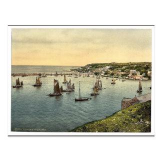 Trawlers leaving harbor, Brixham, England classic Postcard