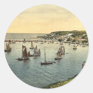 Trawlers leaving harbor, Brixham, England classic Classic Round Sticker