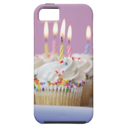 Tray of birthday cupcakes with candles iPhone 5 case
