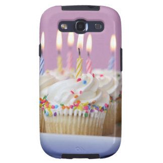 Tray of birthday cupcakes with candles samsung galaxy s3 covers
