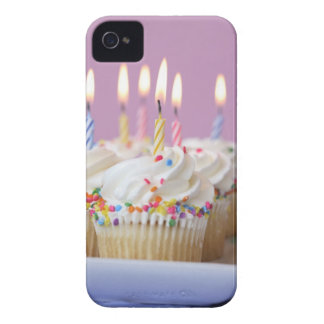 Tray of birthday cupcakes with candles iPhone 4 Case-Mate case