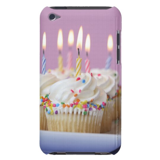 Tray of birthday cupcakes with candles Case-Mate iPod touch case
