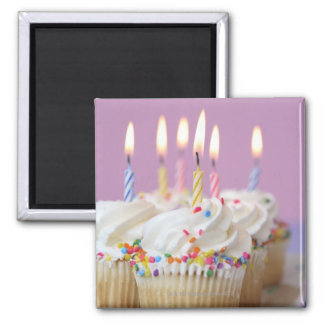 Tray of birthday cupcakes with candles magnet