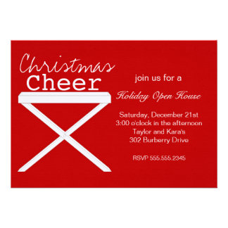 Tray Table in Christmas Red Personalized Invitation