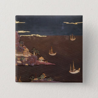 Tray with marine scene button