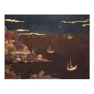 Tray with marine scene postcard