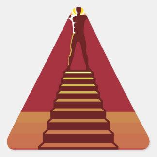Trayectoria a la aclaración pegatina triangular