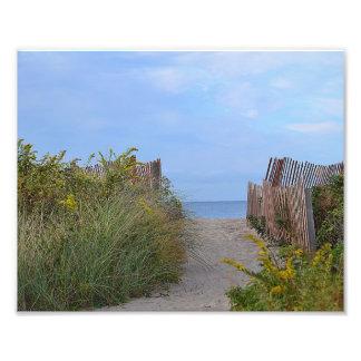 Trayectoria a la impresión de la foto de la playa cojinete