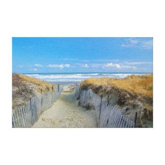 Trayectoria a la playa impresión en lienzo estirada
