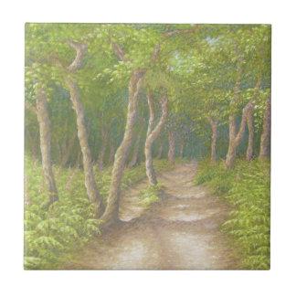 Trayectoria a través de árboles, baldosa cerámica azulejo cuadrado pequeño