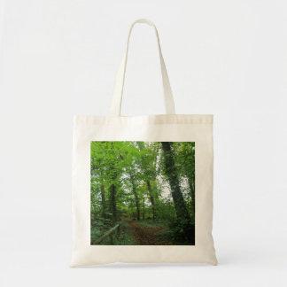 Trayectoria a través del bolso verde del bosque bolsa tela barata