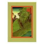 Trayectoria al japonés del vintage del ~ del templ poster